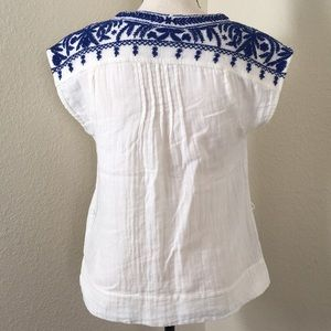 Lucky Brand Boho Embroidered Button Up Top Blouse